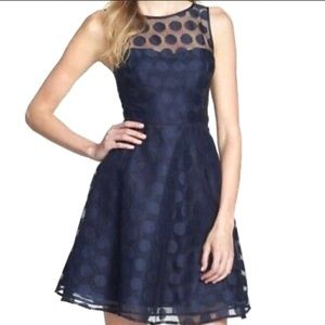 Betsey Johnson polka dotted fit flare lace dress